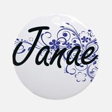 Janae Artistic Name Design with Flo Round Ornament