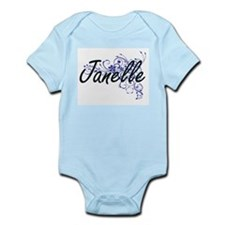 Janelle Artistic Name Design with Flower Body Suit