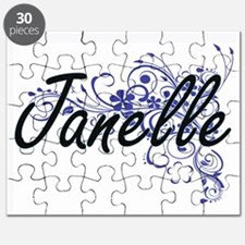 Janelle Artistic Name Design with Flowers Puzzle
