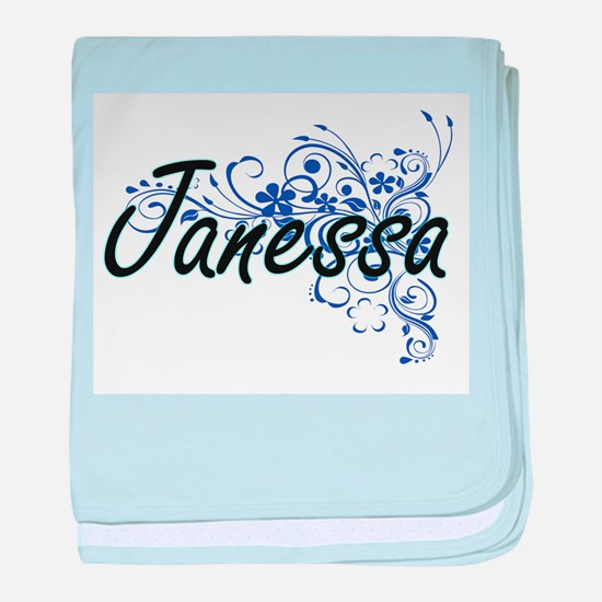 Janessa Artistic Name Design with Flo baby blanket