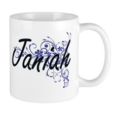 Janiah Artistic Name Design with Flowers Mugs