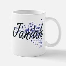 Janiah Artistic Name Design with Flowers Mugs