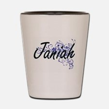 Janiah Artistic Name Design with Flower Shot Glass