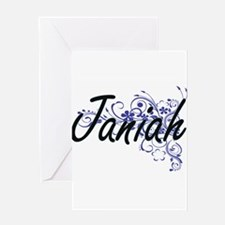 Janiah Artistic Name Design with Fl Greeting Cards