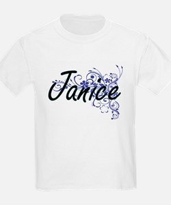 Janice Artistic Name Design with Flowers T-Shirt