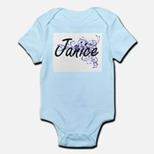 Janice Artistic Name Design with Flowers Body Suit