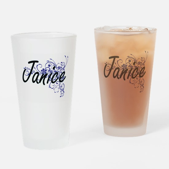 Janice Artistic Name Design with Fl Drinking Glass