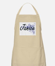 Janice Artistic Name Design with Flowers Apron