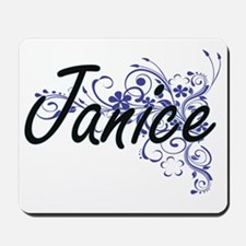 Janice Artistic Name Design with Flowers Mousepad
