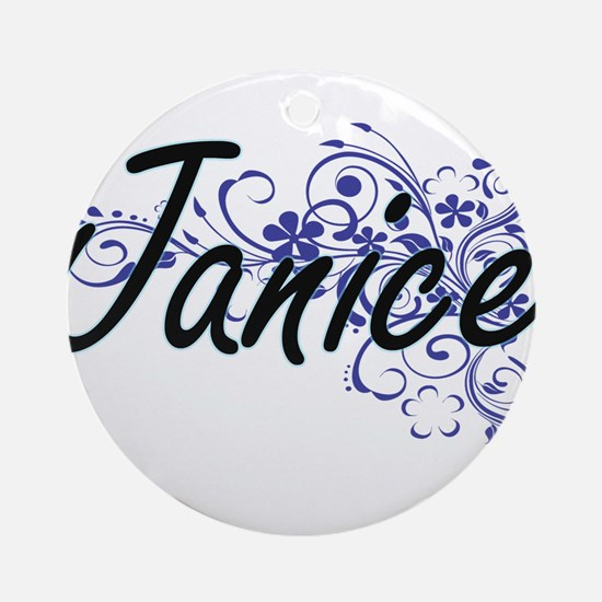 Janice Artistic Name Design with Fl Round Ornament
