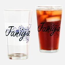 Janiya Artistic Name Design with Fl Drinking Glass
