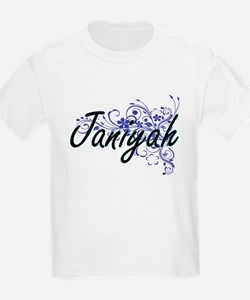 Janiyah Artistic Name Design with Flowers T-Shirt