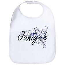 Janiyah Artistic Name Design with Flowers Bib