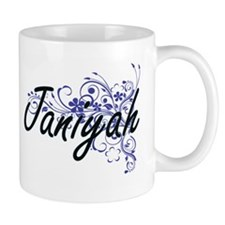 Janiyah Artistic Name Design with Flowers Mugs
