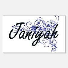 Janiyah Artistic Name Design with Flowers Decal