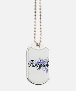 Janiyah Artistic Name Design with Flowers Dog Tags
