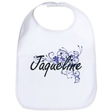 Jaqueline Artistic Name Design with Flowers Bib