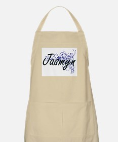 Jasmyn Artistic Name Design with Flowers Apron