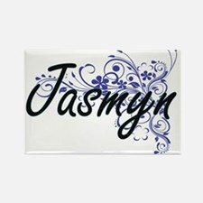 Jasmyn Artistic Name Design with Flowers Magnets