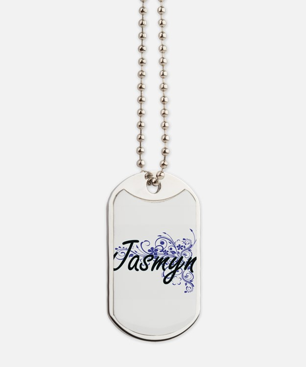 Jasmyn Artistic Name Design with Flowers Dog Tags
