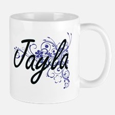Jayla Artistic Name Design with Flowers Mugs