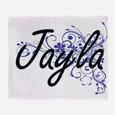 Jayla Artistic Name Design with Flow Throw Blanket