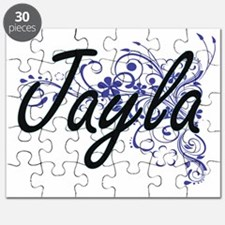 Jayla Artistic Name Design with Flowers Puzzle