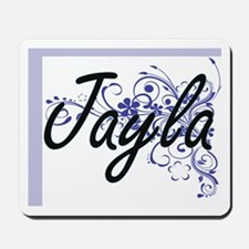 Jayla Artistic Name Design with Flowers Mousepad