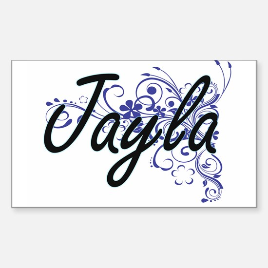 Jayla Artistic Name Design with Flowers Decal