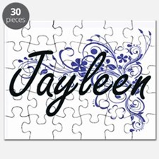 Jayleen Artistic Name Design with Flowers Puzzle