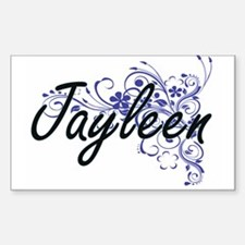 Jayleen Artistic Name Design with Flowers Decal