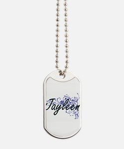 Jayleen Artistic Name Design with Flowers Dog Tags