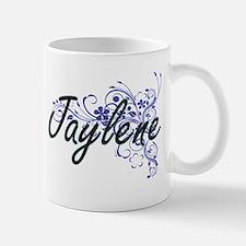 Jaylene Artistic Name Design with Flowers Mugs