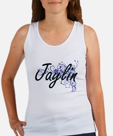 Jaylin Artistic Name Design with Flowers Tank Top