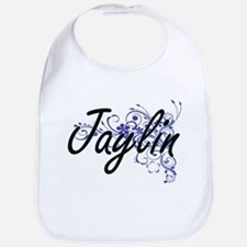 Jaylin Artistic Name Design with Flowers Bib