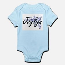 Jaylyn Artistic Name Design with Flowers Body Suit