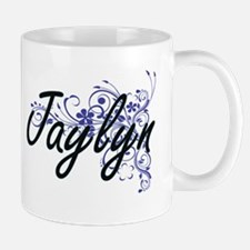 Jaylyn Artistic Name Design with Flowers Mugs