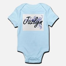 Jazlyn Artistic Name Design with Flowers Body Suit