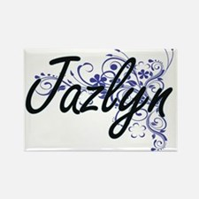 Jazlyn Artistic Name Design with Flowers Magnets