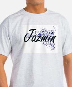 Jazmin Artistic Name Design with Flowers T-Shirt