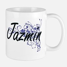 Jazmin Artistic Name Design with Flowers Mugs