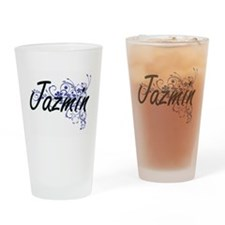 Jazmin Artistic Name Design with Fl Drinking Glass