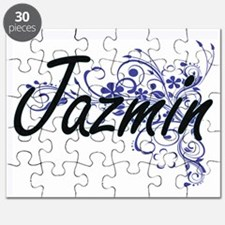 Jazmin Artistic Name Design with Flowers Puzzle
