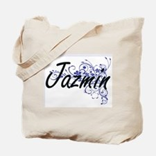 Jazmin Artistic Name Design with Flowers Tote Bag