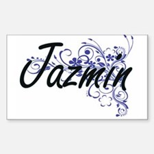Jazmin Artistic Name Design with Flowers Decal