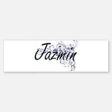 Jazmin Artistic Name Design with Fl Bumper Bumper Bumper Sticker