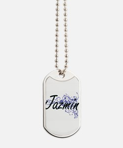 Jazmin Artistic Name Design with Flowers Dog Tags