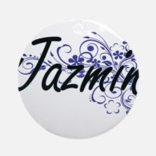 Jazmin Artistic Name Design with Fl Round Ornament