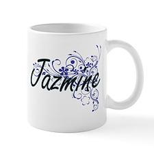 Jazmine Artistic Name Design with Flowers Mugs