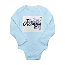 Jazmyn Artistic Name Design with Flowers Body Suit